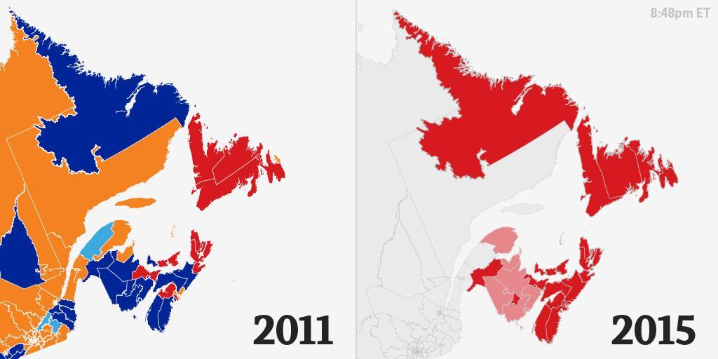 Atlantic Canada, 2011 vs. 2015. Follow our live coverage: https://t.co/jrWfqGQIdw #elxn42 https://t.co/rnWW8XcTDm