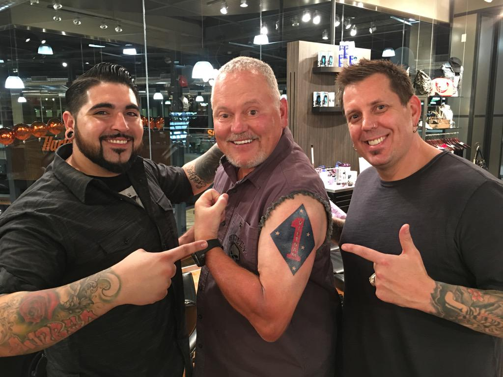 Bob parsons on twitter just got a 1st marine division for Scottsdale harley davidson tattoo