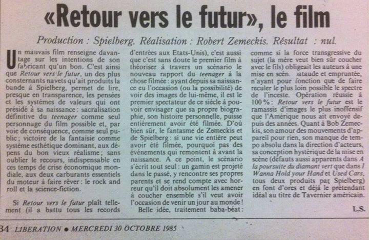 Libérafion, cette bande de visionnaires ! (critique lors de la sortie de Retour vers le futur) https://t.co/AL2IqYRpf7