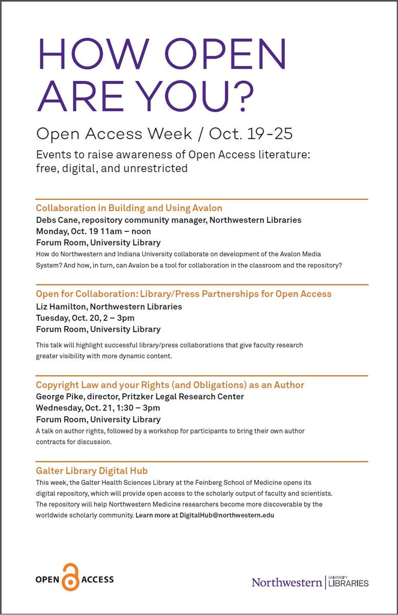 Faculty + grad studs! Stop by @ 2pm today to hear what library/press partnerships can do for your research! #OAWeek https://t.co/jzN3CwR9vk