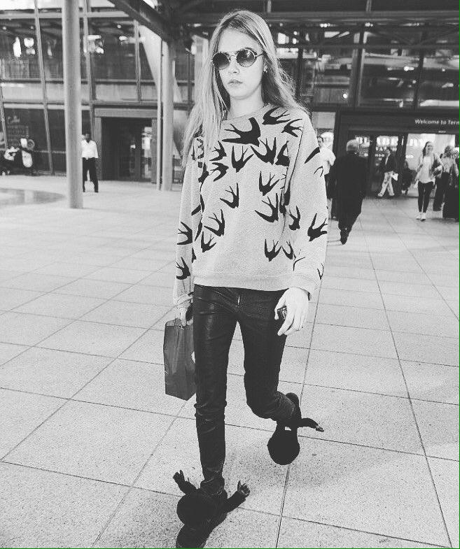 Do a Cara and buy your McQ Swallow Flock Sweatshirt now on http://Shop.vlvt.nl #caradelevingne #mcq #sweatshirt