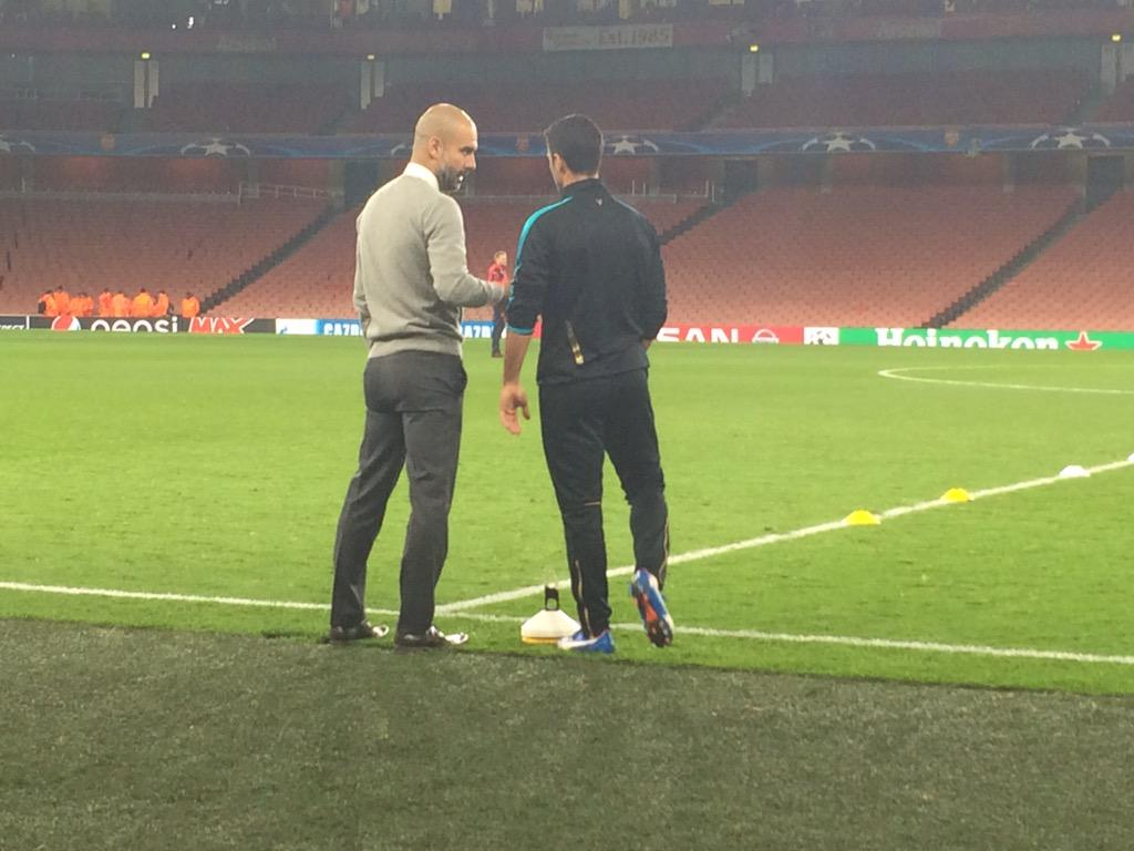 Pep Guardiola and Mikel Arteta were deep in conversation pitch side long after the match. #AFCvBAY @ChampionsLeague https://t.co/MEZ7DXkfJc
