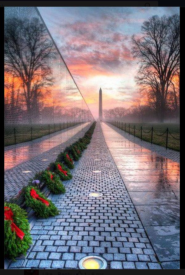 Saluting our Veterans - Vietnam Veterans Memorial at Sunrise - Photo by Angela B. Pan https://t.co/6qSp8JNy9p