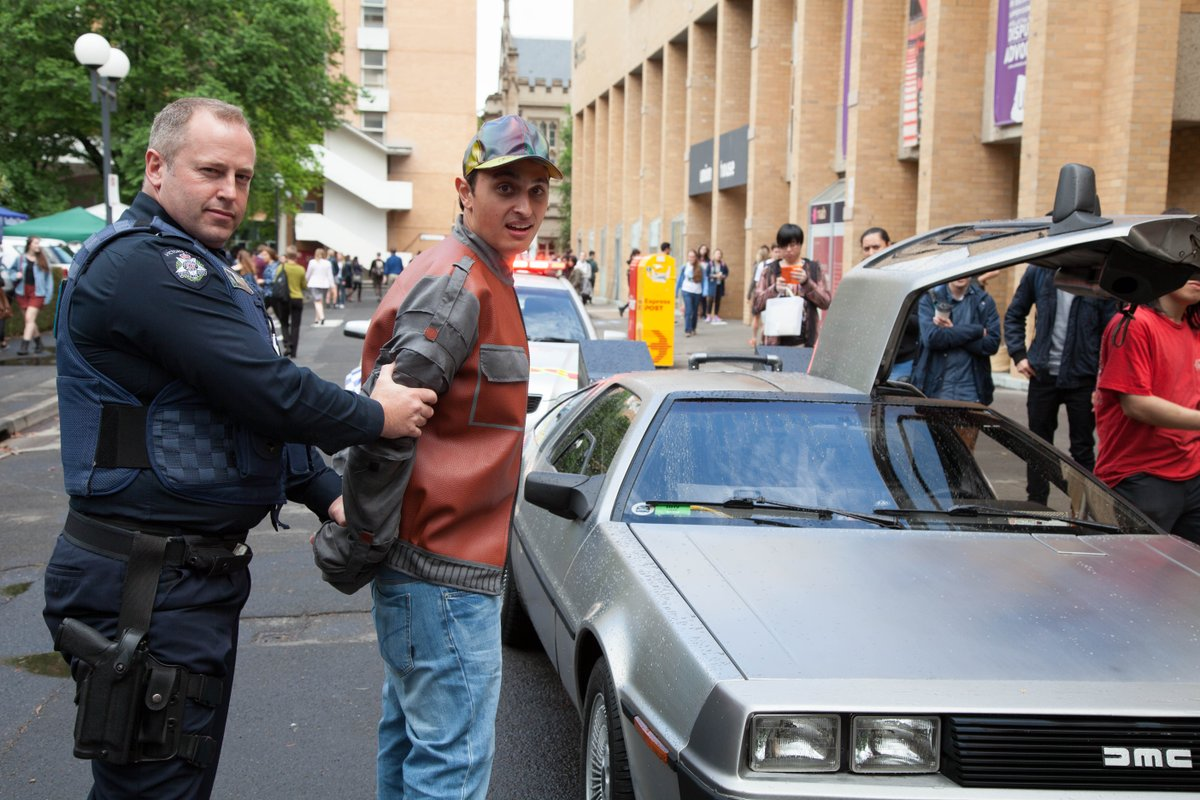 Marty McFly from Hill Valley was arrested in Melbourne today for disturbing the space-time continuum #BTTF #BTTF2015
