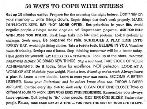 A MUST RT  50 WAYS TO COPE WITH #STRESS let's help each other PLS RT  #NationalStressAwarenessDay #worklifebalance https://t.co/5Bvh2I0ZKw