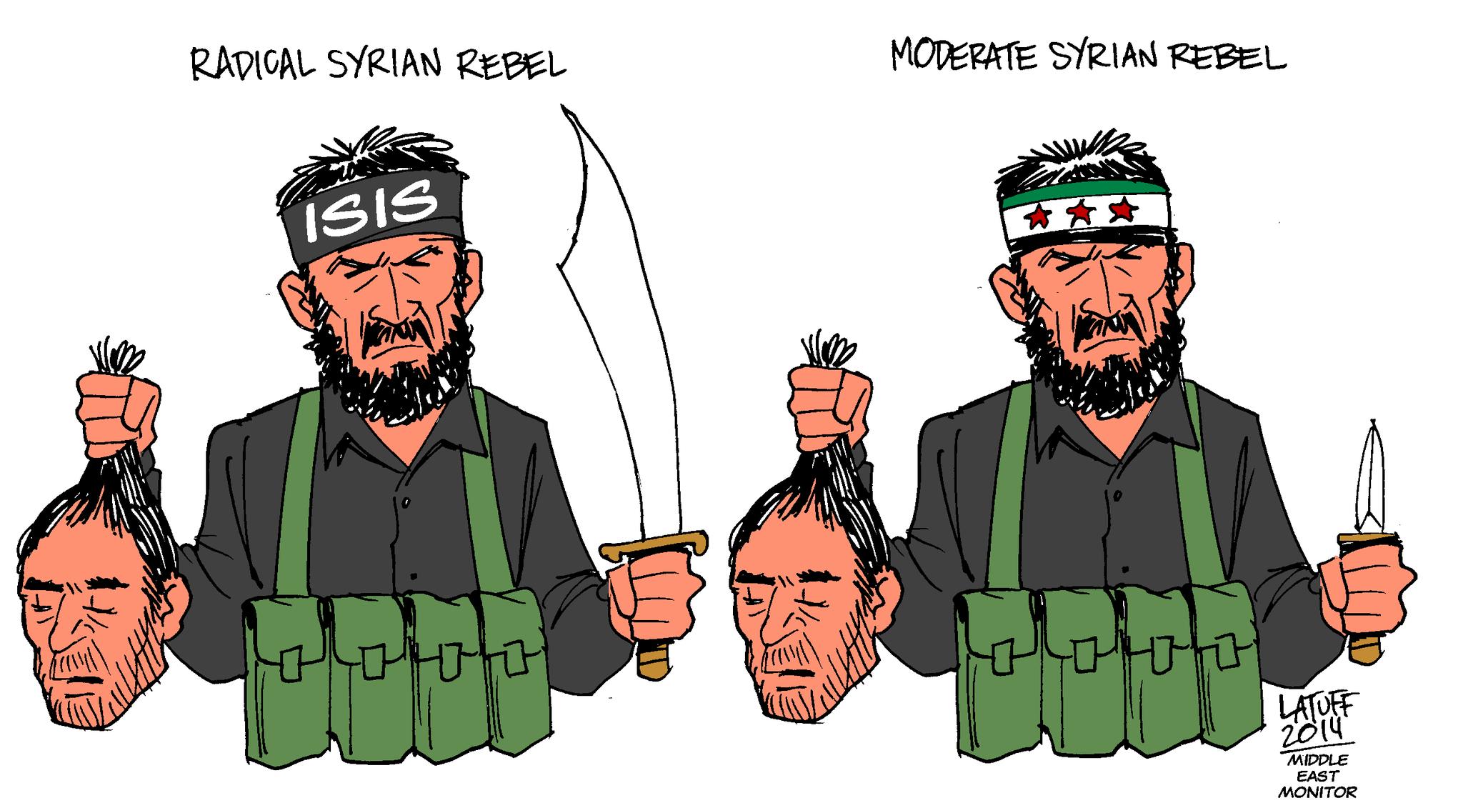 'Moderate' Syrian rebels, Latuff cartoon