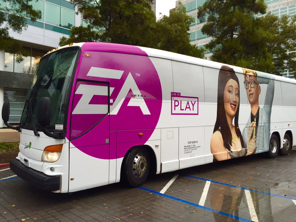 The new EA shuttle has been Simified. Yay @TheSims! #pink #luxuryparty https://t.co/JVbJxBVZTF