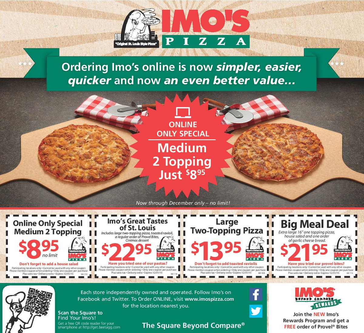 Imo's Pizza Coupon: Imo's Pizza at GrubHub - $10 Off Your First Order Over $15 With Email Signup