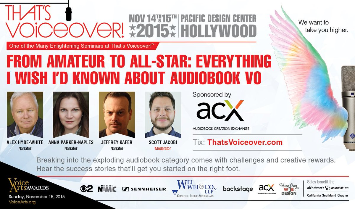 Join us on Nov. 14 at @thatsvoiceover for #audiobook #protips from @JeffreyKafer, @AnnaParkerNaple, & @hydewhite! https://t.co/ETkNIKMpJp