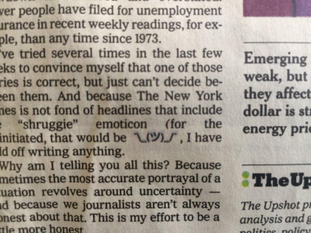 Shruggie appeared on paper version of NYTimes. ツの顔文字(「しょうがない」みたいなニュアンス)アメリカの著名全国紙に登場 https://t.co/eOqMTussUV