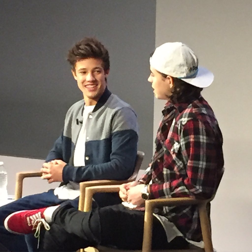 Cameron Dallas and Nash Grier at the Apple Store discussing the iTunes premiere THE OUTFIELD right now https://t.co/zcKQGVuloM