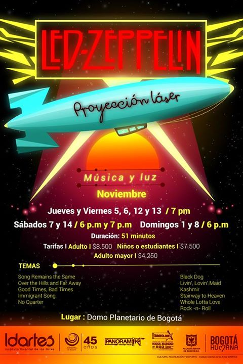 proyección Láser Led Zeppelin en el Planetario de Bogotá
