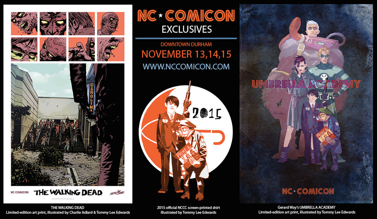 Get your exclusive @NC_Comicon merch signed by @gerardway @CharlieAdlard and me. November 13-15, downtown #Durham! https://t.co/BlhjyYkB6I