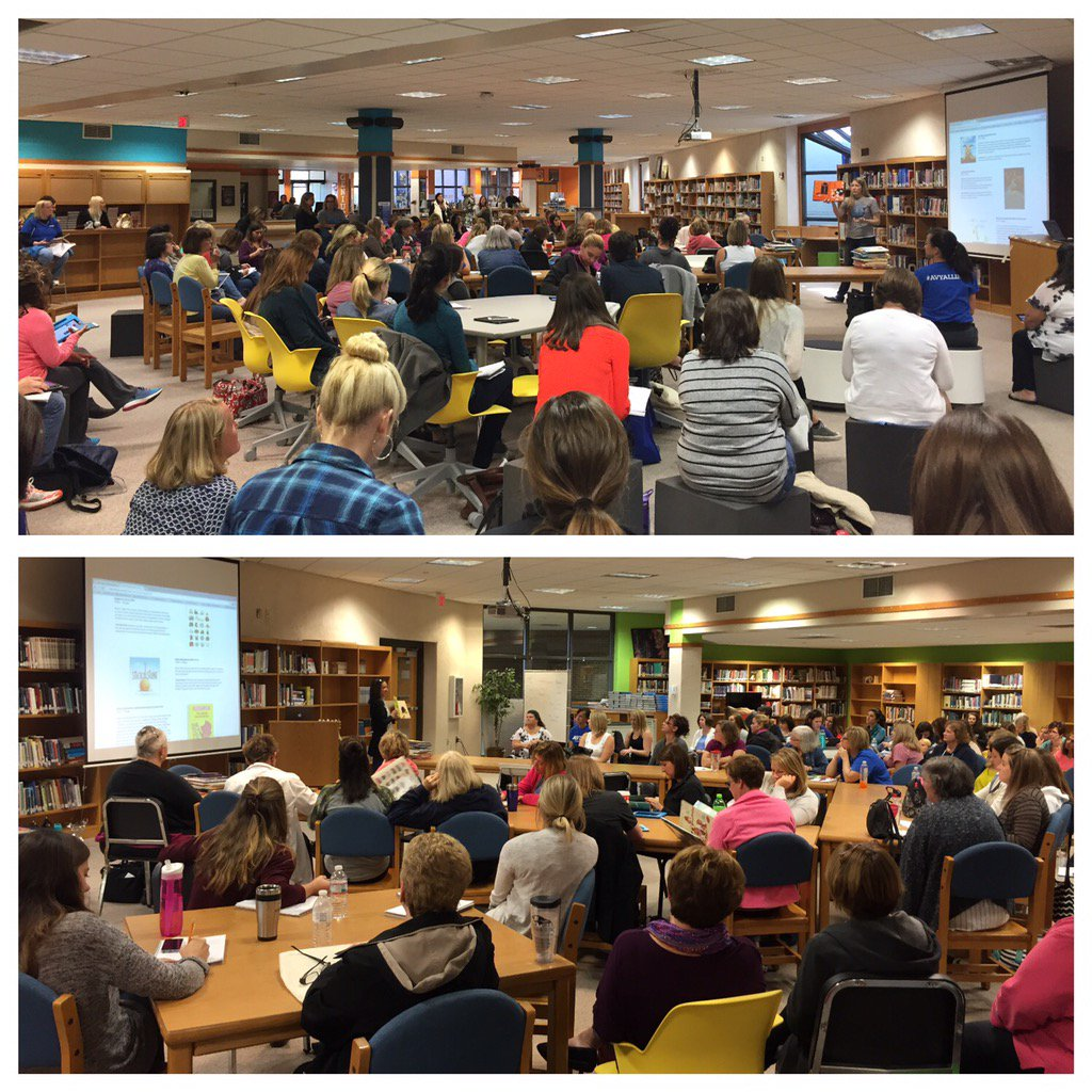 It was a packed house for @msbooktalker & @merkleji talking about chapter & picture books @THEHilliardU #hcsdu https://t.co/QcaTc2NIf7