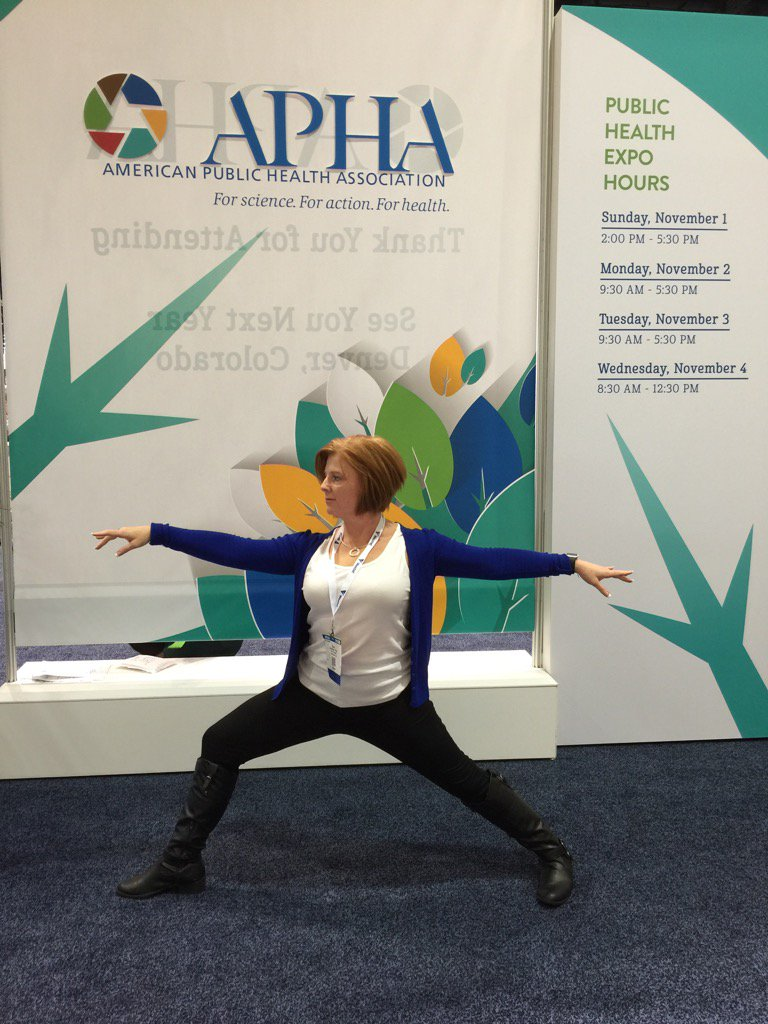 #APHA15 join me for #yoga for everyone in your office clothes 7am wed #wellbeingultimatum next to conference expo https://t.co/oQxnCsJU6B