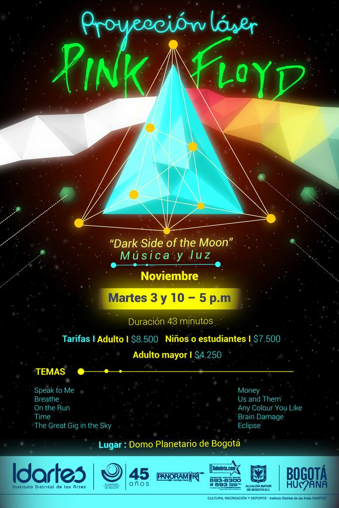 proyección Láser Pink Floyd en el Planetario de Bogotá