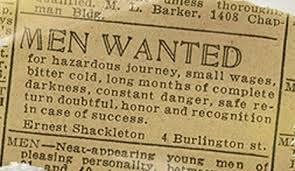 Social Entrepreneurs can relate to this recruiting ad for 1914 Antarctica Expedition #Shackleton #BeFearless https://t.co/yB0aLX72mS