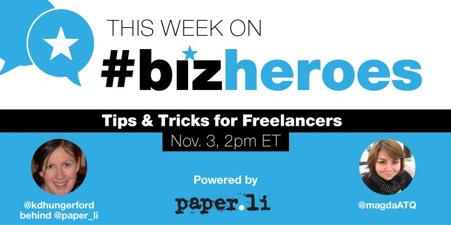 #BizHeroes is about to start in 20 mins w/ @KDHungerford behind the @paper_li handle! Join us!! Topic: #freelancing https://t.co/gkWZ0wnmjC
