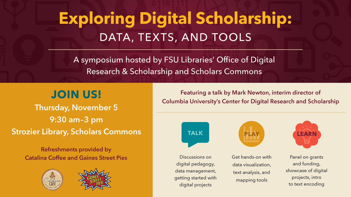 Digital scholarship is...?? Tweet us with #GoDigiNoles and learn more Thursday. https://t.co/Gj3xWNDdI5 https://t.co/fv6xJw4DQP