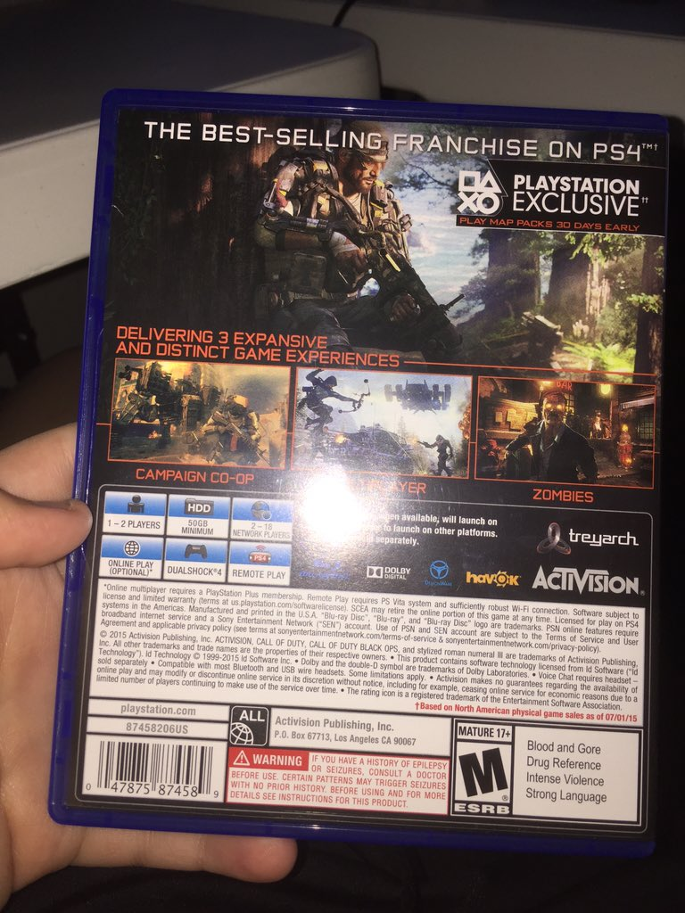 Clear Pic Of The Back Of The Case For Those Of You Who Asked Blackops3