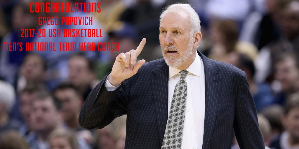 Gregg Popovich named head coach of USA Basketball Men's National Team for 2017-20: https://t.co/S8304VMlFQ #USABMNT https://t.co/nc93uuh282