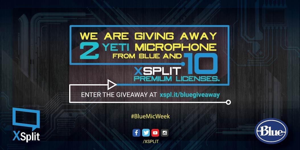 Giveaway for @bluemicrophones begins! 2 Yeti & 10 XSplit Premium up for grabs! https://t.co/V47XOQYrKk #BlueMicWeek https://t.co/uyp91qU42Z