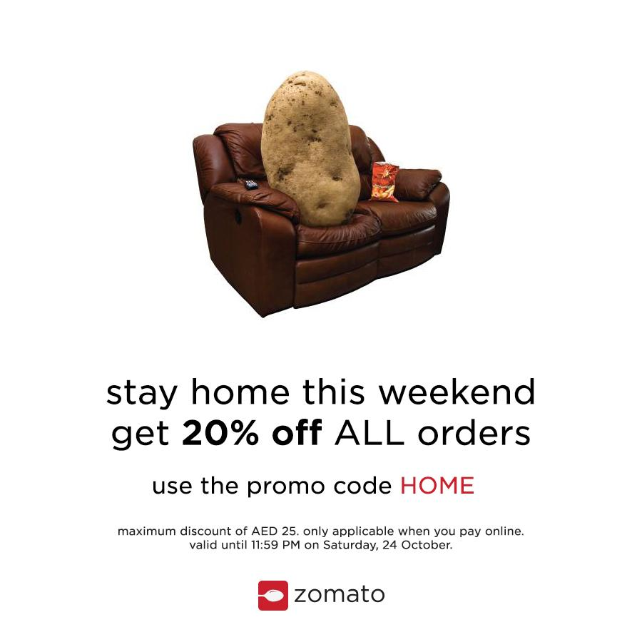 Zomato UAE on Twitter   Stay home this weekend and get 20  off ALL online  orders  Use the promo code  HOME   ZomatoOrder  weekend  https   t co CJToBkhlzf. Zomato UAE on Twitter   Stay home this weekend and get 20  off ALL