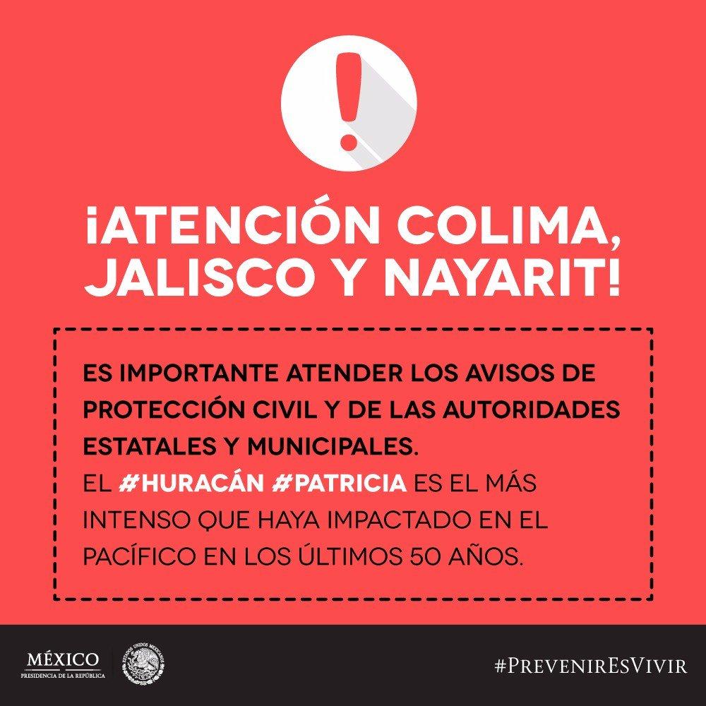 Ubica #RefugiosTemporales #HuracánPatricia: #Jalisco 01322-224-7701 #Colima 01312-313-0311 #Nayarit 01311-133-0381 https://t.co/G2EBtm92L1