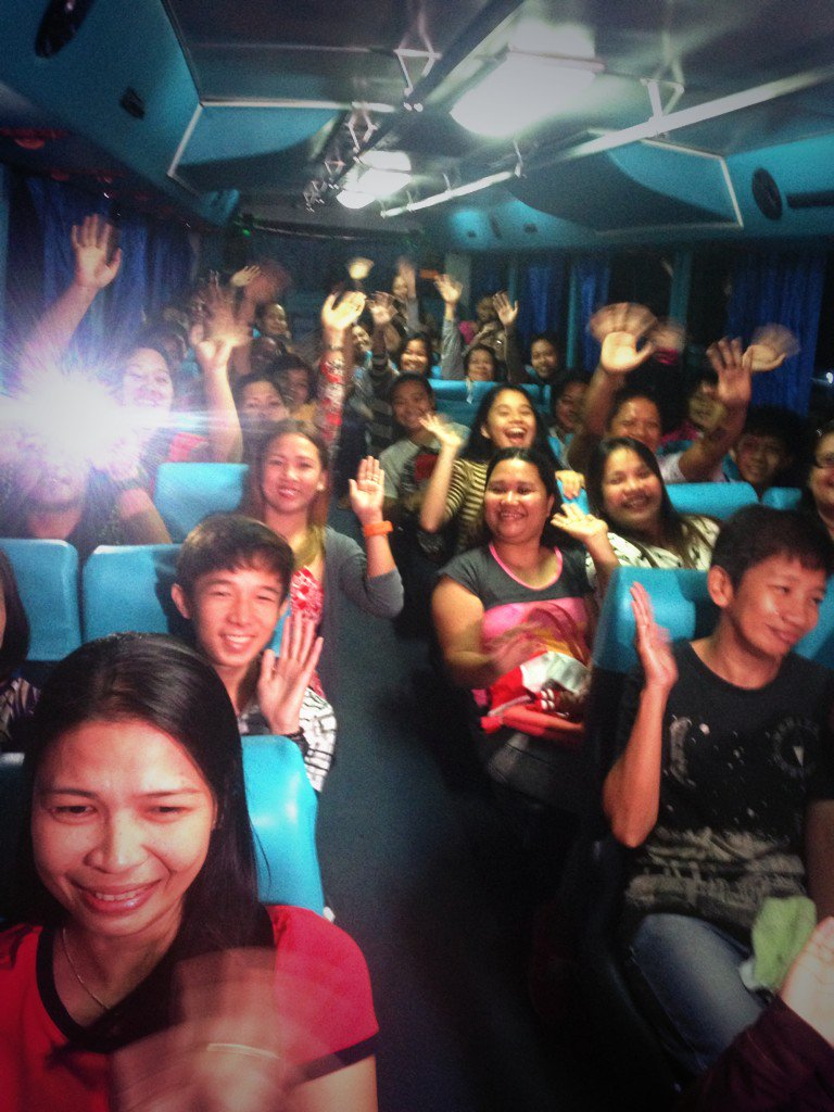 Excited fans inside a bus going to the Philippine Arena. #ALDubEBTamangPanahon | via @isay_reyes