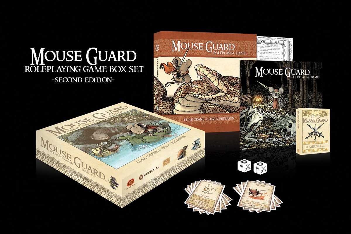 The much-anticipated MOUSE GUARD ROLEPLAYING GAME BOX SET SECOND EDITION is out 10/28! @mouseguard @Burning_Luke https://t.co/QRligTLrec