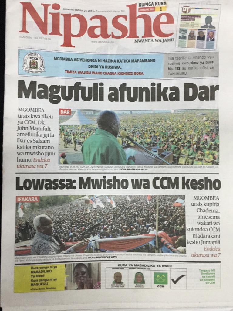 "Team Lowassa on Twitter: ""#SafariYaMatumaini imeanza rasmi. Gazeti ..."
