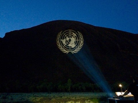 A special moment: first time Uluru lit up to mark @UN's 70th birthday #UN70 https://t.co/fnS52o1Y80 https://t.co/FL4WbaANaC