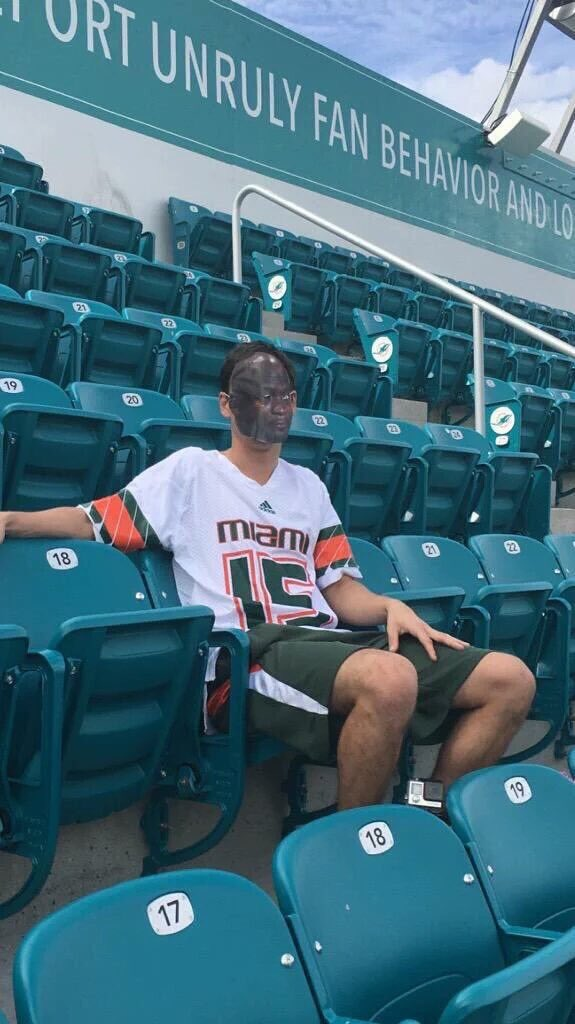 Dude brought out the Jordan crying mask for the #Miami game.