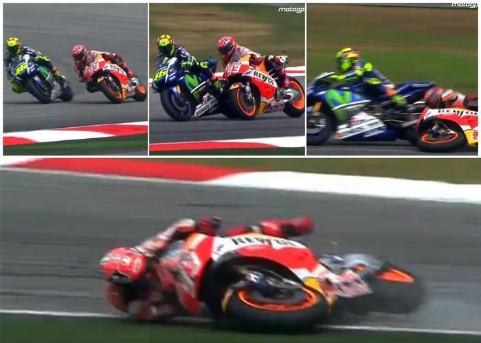 La caduta di stile di Valentino Rossi in Malesia, addio Mondiale