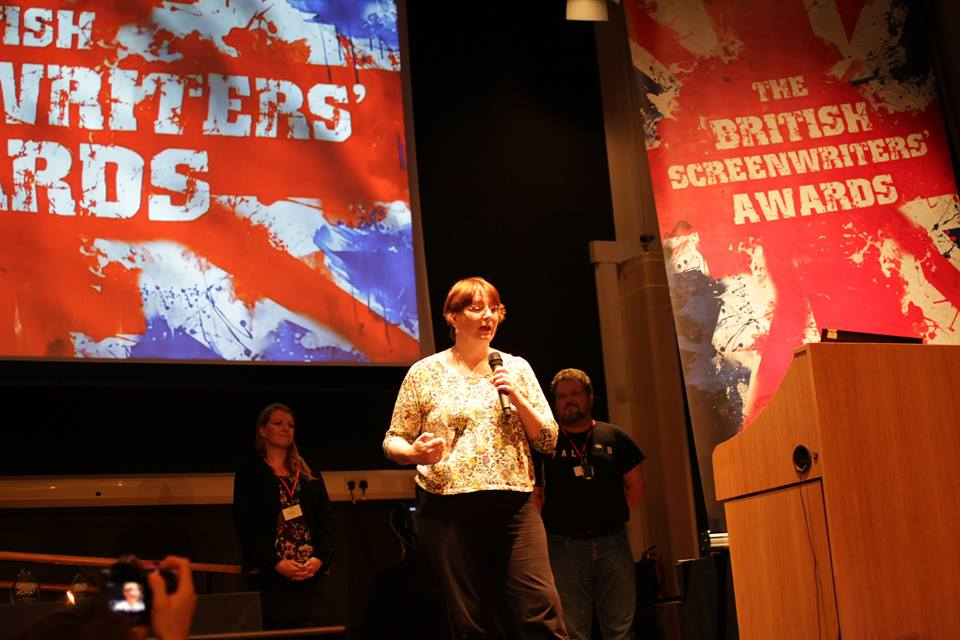 Debbie Moon accepts the award on behalf of all the writers of #WolfBlood for Best British Children's TV. #LondonSWF https://t.co/ufv2tRXuPF