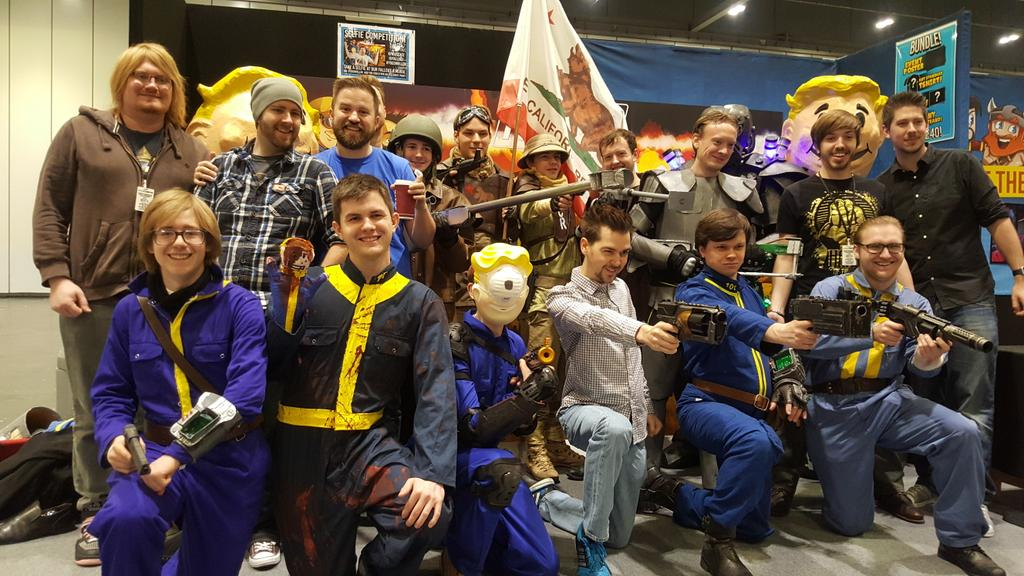 The yogscast on twitter big fallout cosplay group for Fallout 4 mural