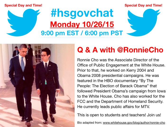 Thumbnail for #hsgovchat (10/26/16): Q & A w/ @RonnieCho