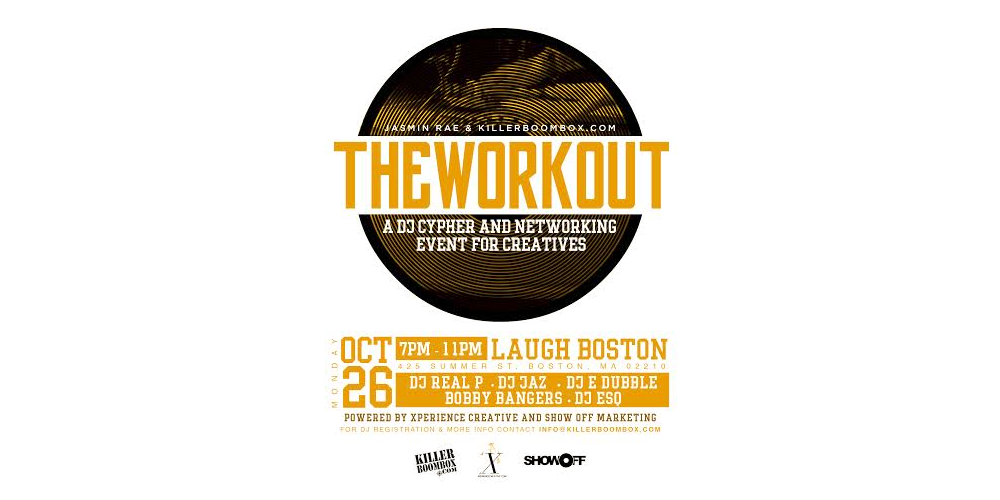 TOMORROW: 7PM #workoutKBX hosted by @KillerBoomBox @LaughBoston https://t.co/yx0j4DGplm @jasminrae_ @YourXperience https://t.co/EATV1T8V8s