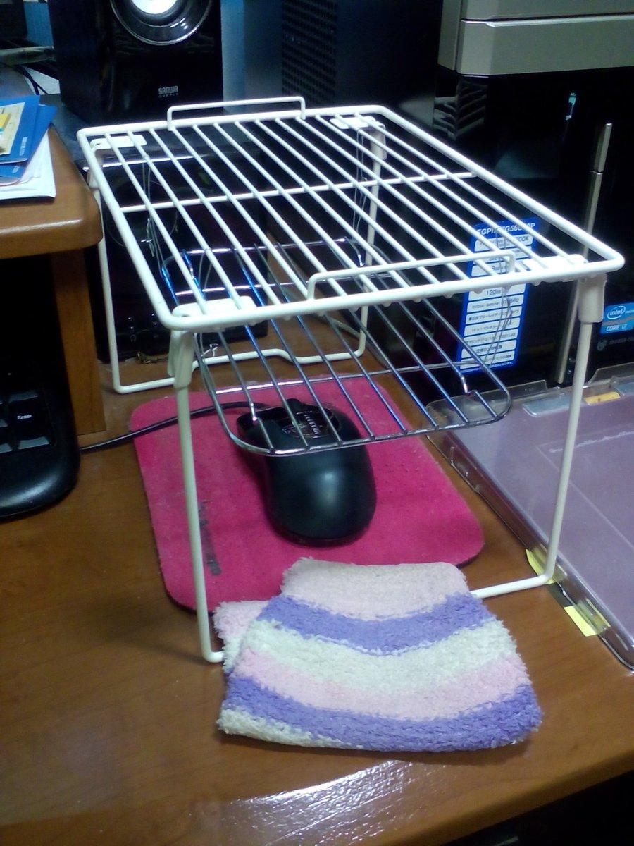 マウスの上に天ぷら網吊ったミニ棚設置。ミニ湯たんぽ置く。適当な布で覆う。マウスこたつもどき完成。手が冷えない pic.twitter.com/96eMKTzVeF
