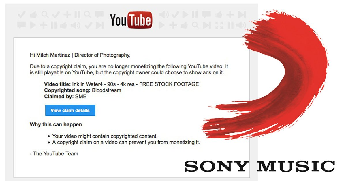Sony filed a copyright claim against the stock video I licensed to them: https://t.co/jQCABW8TFL https://t.co/DCmX6X0tCK
