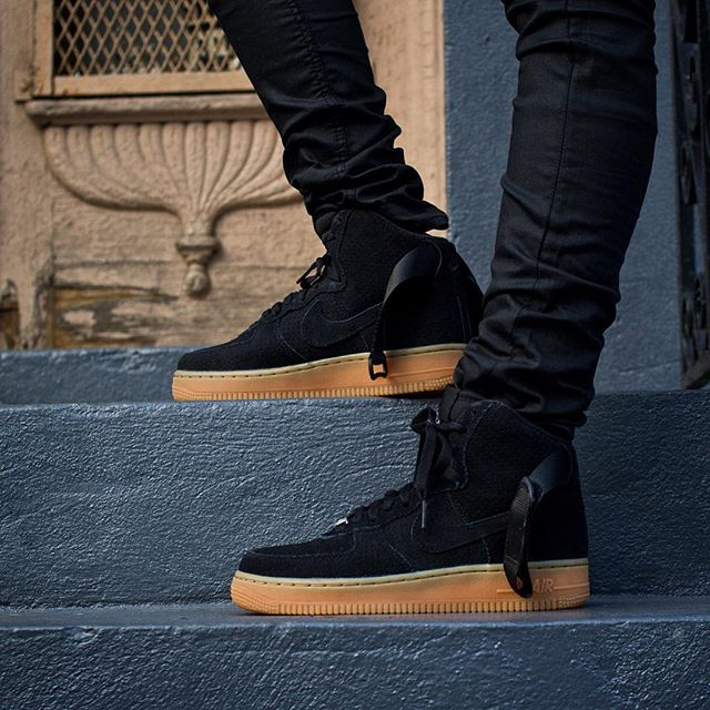 Nike Air Force 1 Black High On Feet