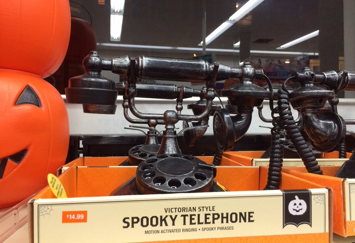 A sad state of affairs when a rotary dial phone is now marketed as terrifying Halloween prop. Fax machine—maybe. https://t.co/tKgoxvo96d