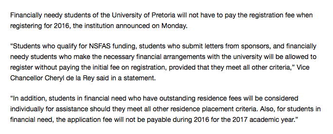 Let's give a round of applause to the University of Pretoria. #FeesMustFall https://t.co/iUQqLBWJQO