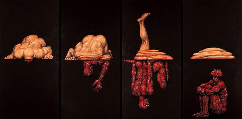 薛繼業(1965〜)による作品。中国の画家、彫刻家。人間の闘争を超現実的な手法で描き出しています。男性は裸で描かれ、個人ではなく種としての人間を意味しています。