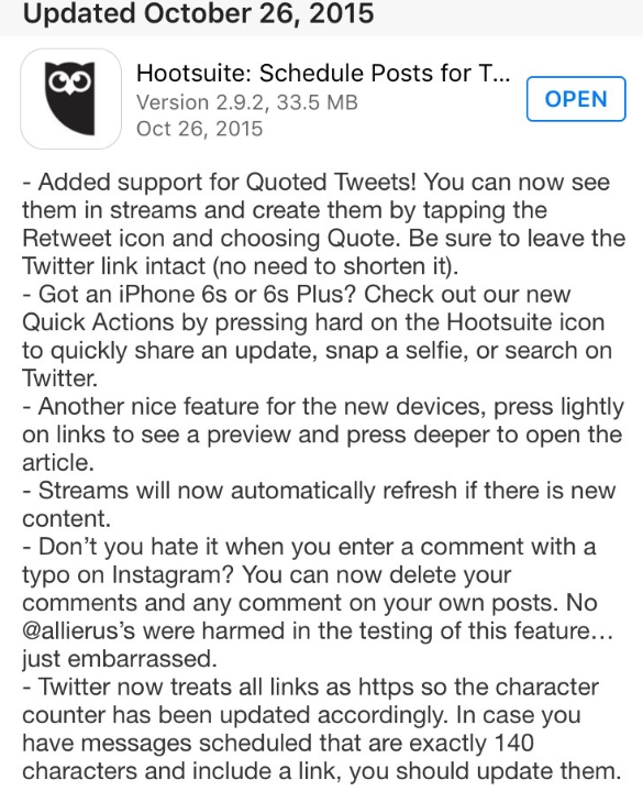 Update v2.9.2 for iOS now available. Lots of new stuff: Quoted Tweets, 3D Touch Support... https://t.co/ars2JNOMYi https://t.co/gJzN1cBRxI