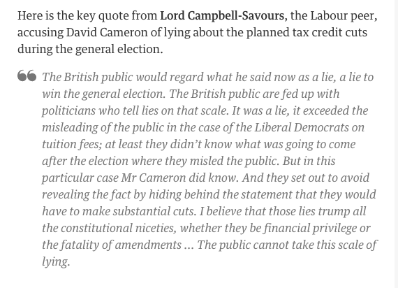"""""""The public cannot take this scale of lying"""" - Campbell-Savours accuses Cameron of lying over #taxcredits https://t.co/joWJVyngCW"""