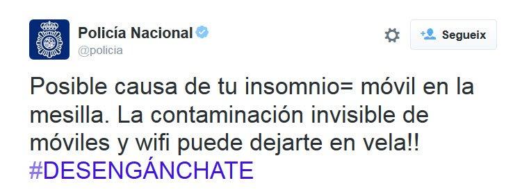 Policía Nacional: Posible causa de tu insomnio = móvil en la mesilla. La contaminación invisible de móviles y wifi puede dejarte en vela. Desengánchate.