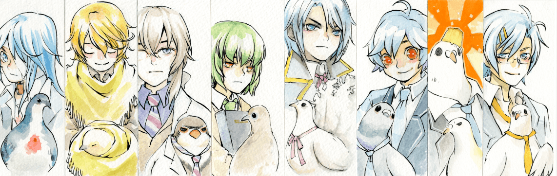 I finished my set of hatoful boyfriend mini chara paintings. :3 @moa810 ♥ https://t.co/RhQQKT31zl