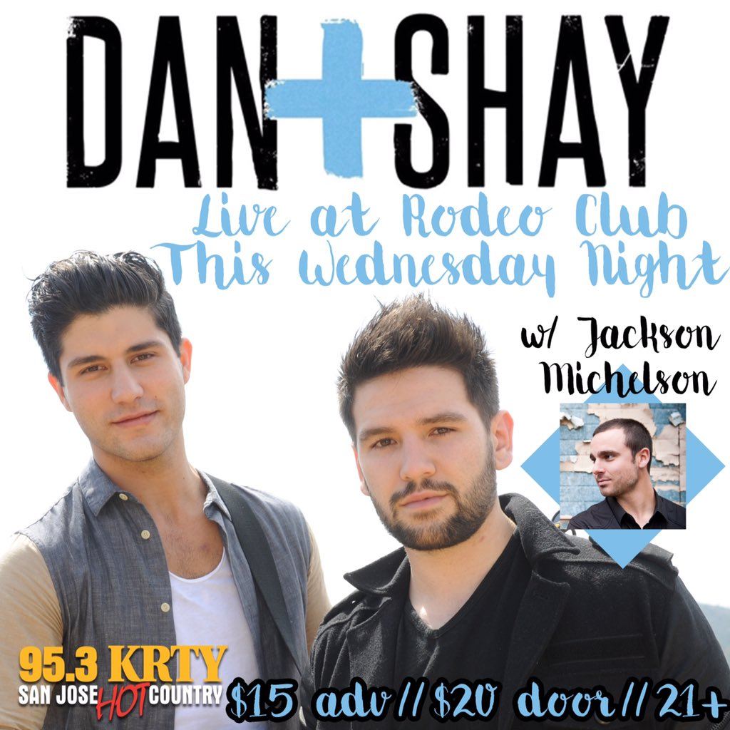 We're getting so excited to see Dan + Shay and Jackson Michelson on Wednesday night! Tickets are still available! https://t.co/ovhJiB9ICW