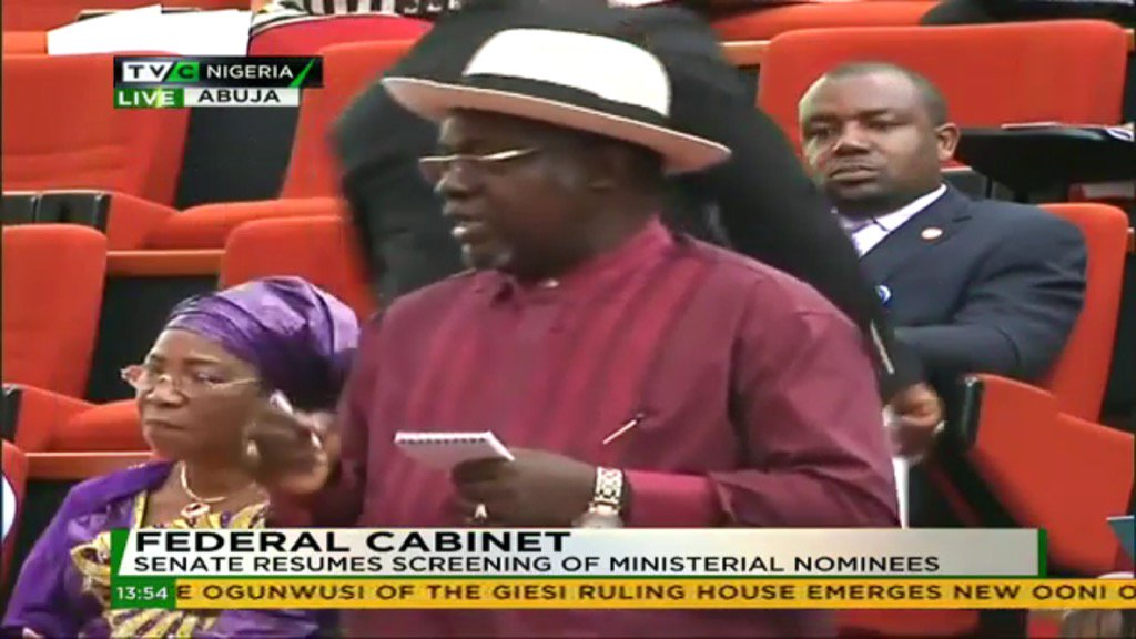 """Sen. Sekibo to Geoffrey #Onyeama: """"Why do you hv 2 masters degrees?""""  Who voted in this clown? #MinisterialScreening https://t.co/uZOCnOR99c"""
